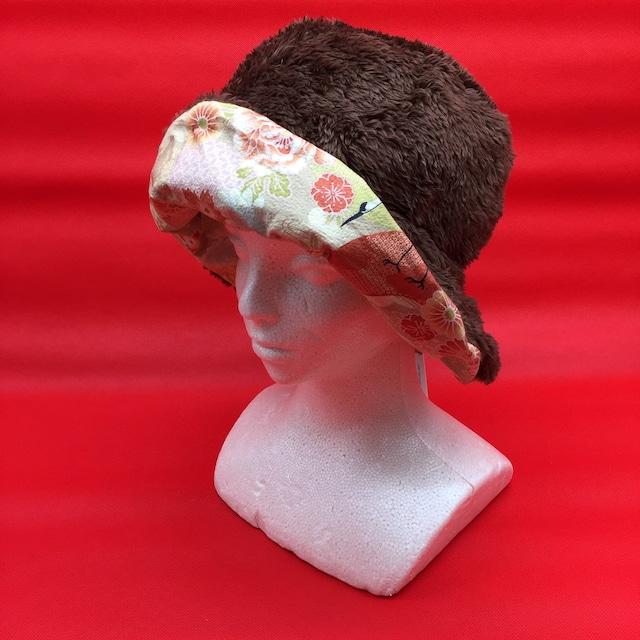 【Brown×鶴和紋模様】Winterリバーシブル帽子