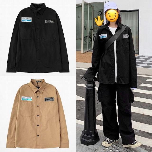 ユニセックス シャツ 長袖 メンズ レディース レタープリント オーバーサイズ 大きいサイズ ルーズ ストリート TBN-626614238090
