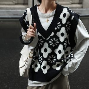 Jacquard flower vest( ジャガードフラワーベスト)b-501