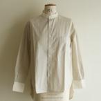 H.UNIT【 womens 】stripe bandcollar cleric shirts