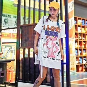 9019レディース トップス 半袖tシャツ ロンTシャツ  プリントTシャツ 原宿系 ゆったり ロンt 大きいサイズ ワンピース ユニフォーム