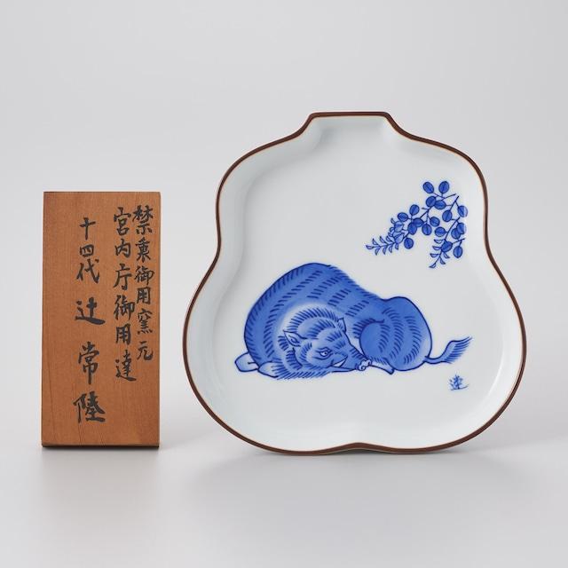 【宮内庁御用達 辻 常陸】猪十二支干支(亥)瓢皿
