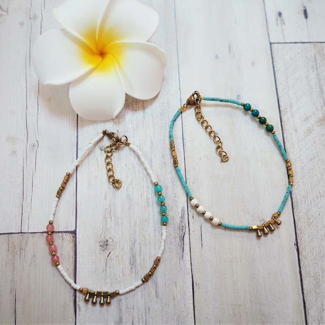 Beads Anklet《WHT/BLU》18385043A-B