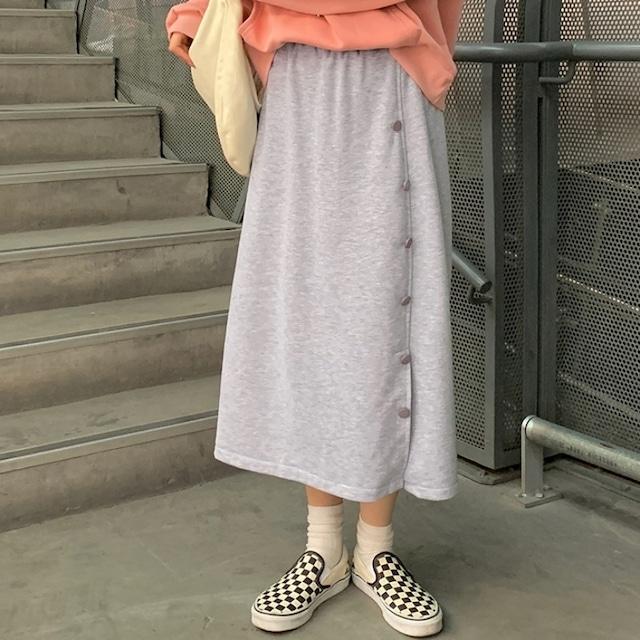 【ボトムス】カジュアル無地ボタン付きスカート46991077