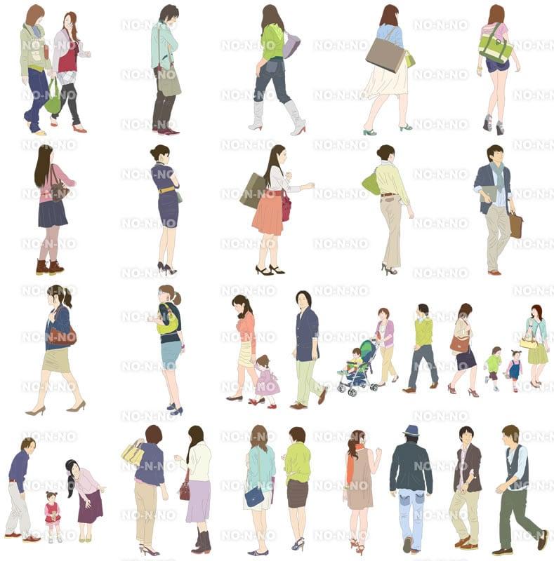 人物イラストSketchUp素材 4up_color01_20_3 - 画像4