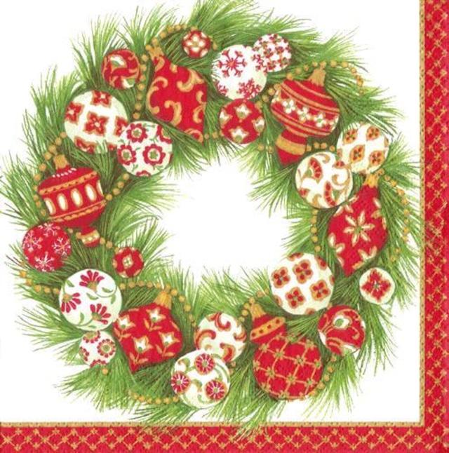 【Caspari】バラ売り1枚 ランチサイズ ペーパーナプキン Christmas Ornaments ホワイト