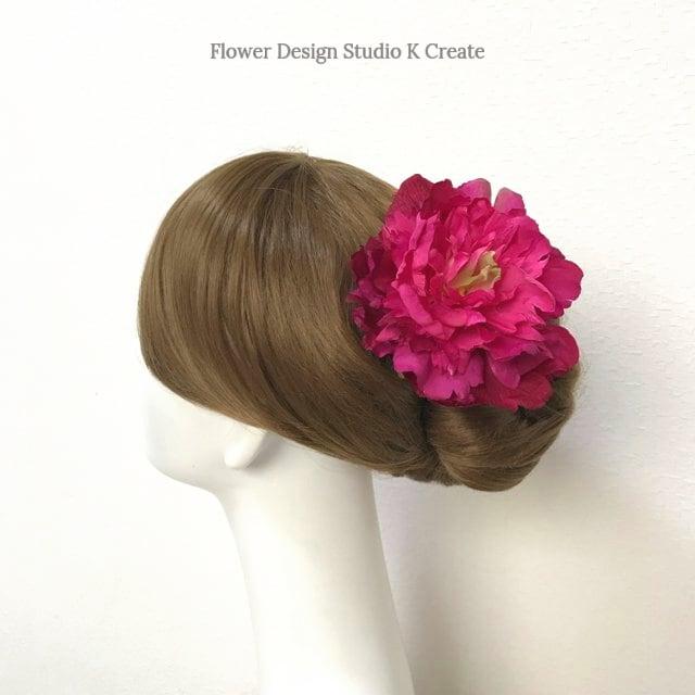 フフラメンコ・ダンス髪飾りに♡ローズピンクのピオニーのヘッドドレス ピンク 芍薬 ダンス 髪飾り ローズピンク 浴衣