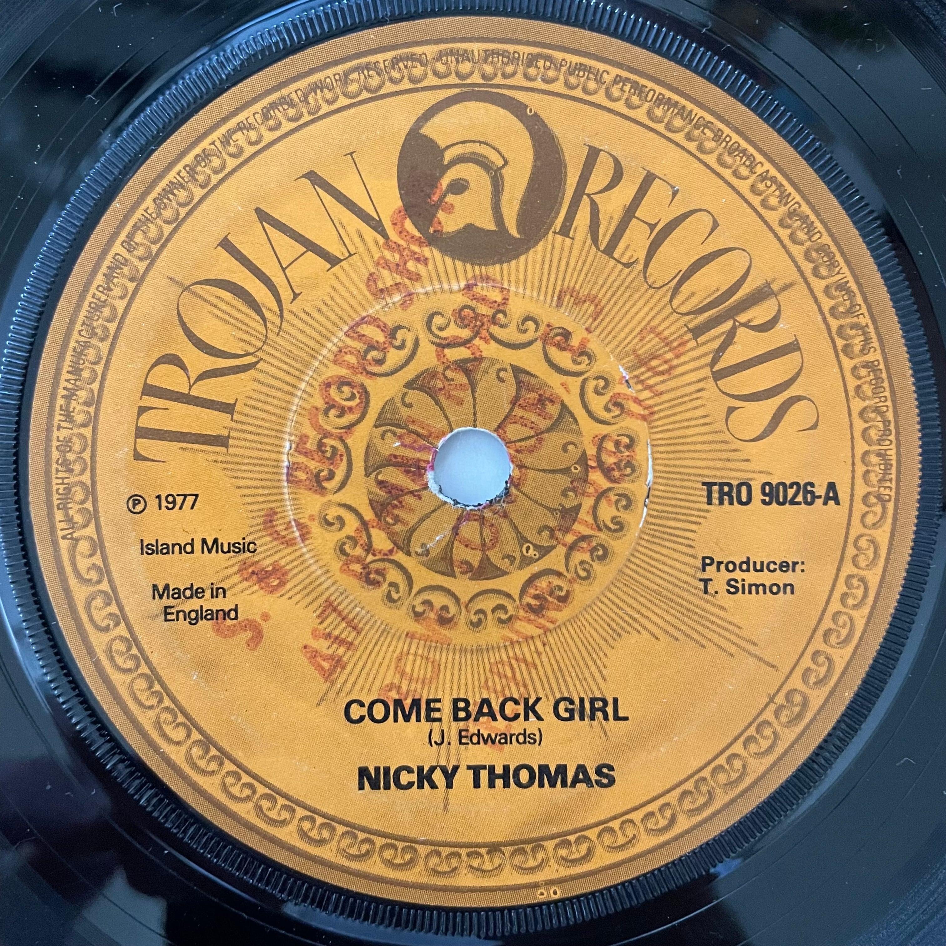 Nicky Thomas - Come Back Girl【7-20786】