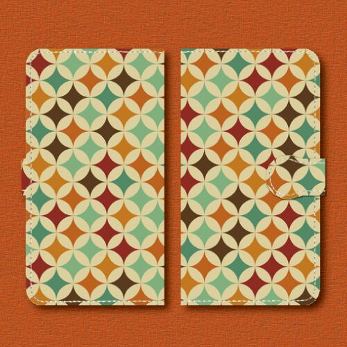 レトロポップ/七宝つなぎ/004/レトロ柄/Androidスマホケース(手帳型ケース)