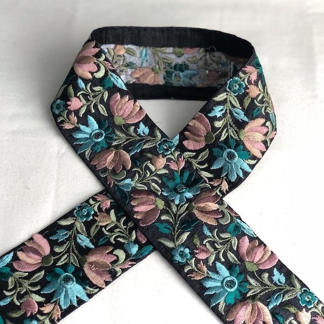 インド刺繍リボン エメラルド×ブラック ins-0053eb