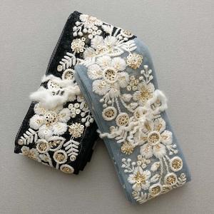 チュールスパンコールと6枚お花刺繍リボン