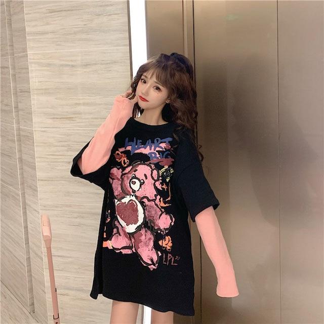 【トップス】ファッション切り替えしルーズラウンドネックパーカー53207064