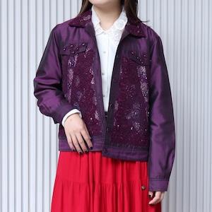 シルク 刺繍 レース デザインジャケット アメリカ 古着 L