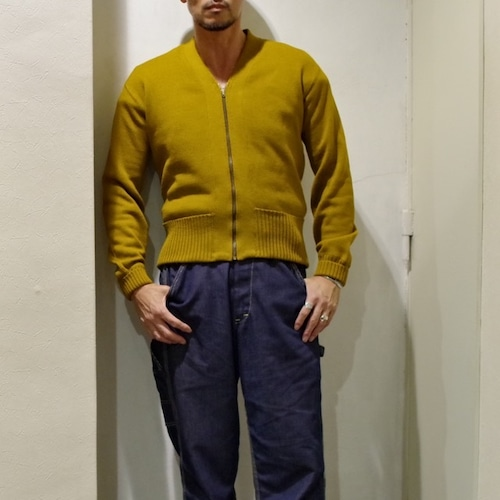 1940-50s Zip Up Cardigan / 長リブ 折り返しポケット !! / ビンテージ カーディガン マスタード