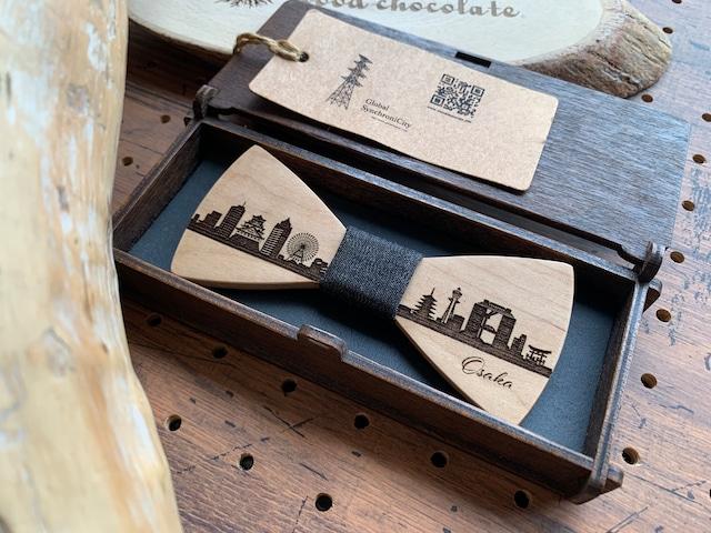 「大阪の街並み」木製 蝶ネクタイ #CityContrast Osaka - メイン画像