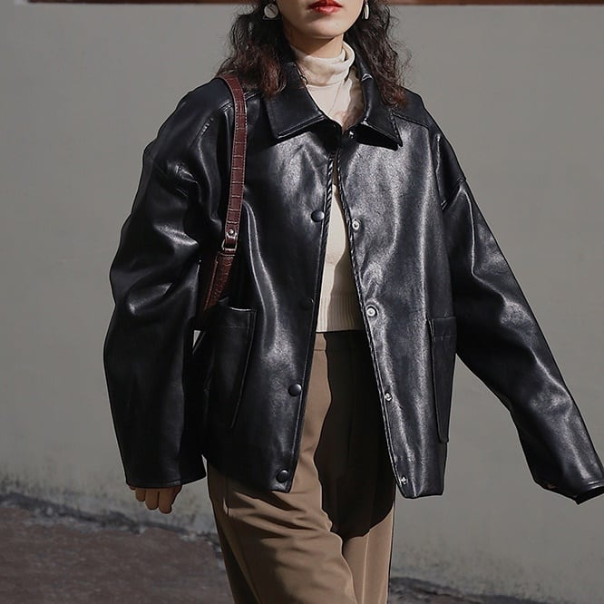 Vintage fake leather jacket(ヴィンテージフェイクレザージャケット)a-780
