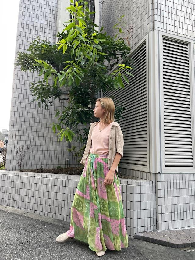 Indian cotton gather skirt / 7SSSK27-15