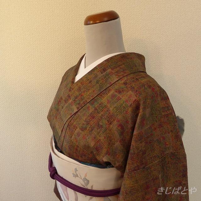 正絹 紫に格子の縞のなごや 単衣の帯