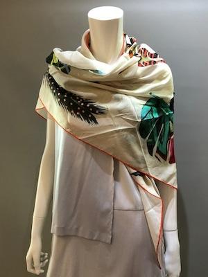 LARIOSETA(ラリオセタ)OK710/10780 Col.1(Beige) コットン100% 変形サイズ イタリア製 プリントスカーフ