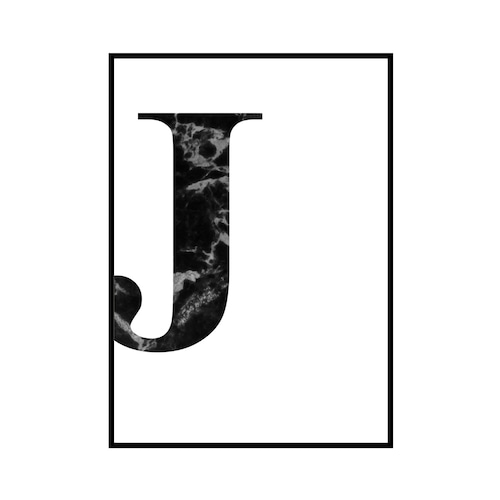 """J"" 黒大理石 - Black marble - ALPHAシリーズ [SD-000511] B2サイズ ポスター単品"