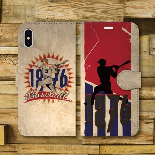 レトロポスター/ベースボール/野球/レトロ調/ビンテージ調/アメリカ/バッター/RED・BULE/iPhoneスマホケース(手帳型ケース)
