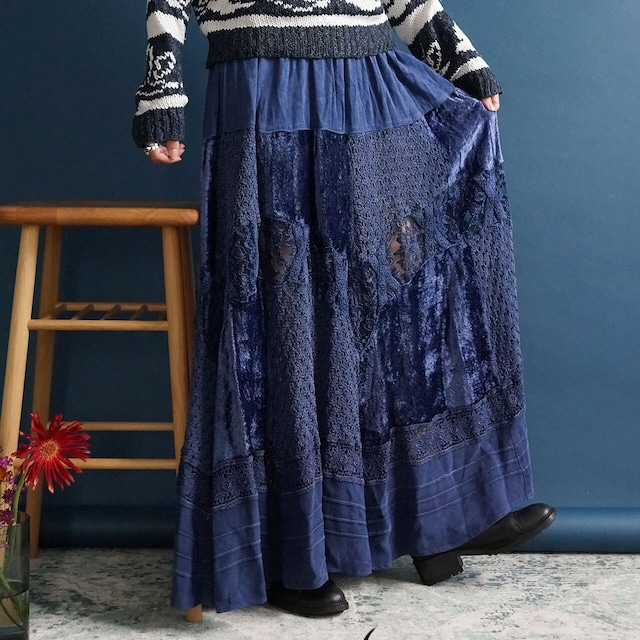 【送料無料】80's Vintage Blue Patchwork Bohemian Maxi Skirt Made in ITALY