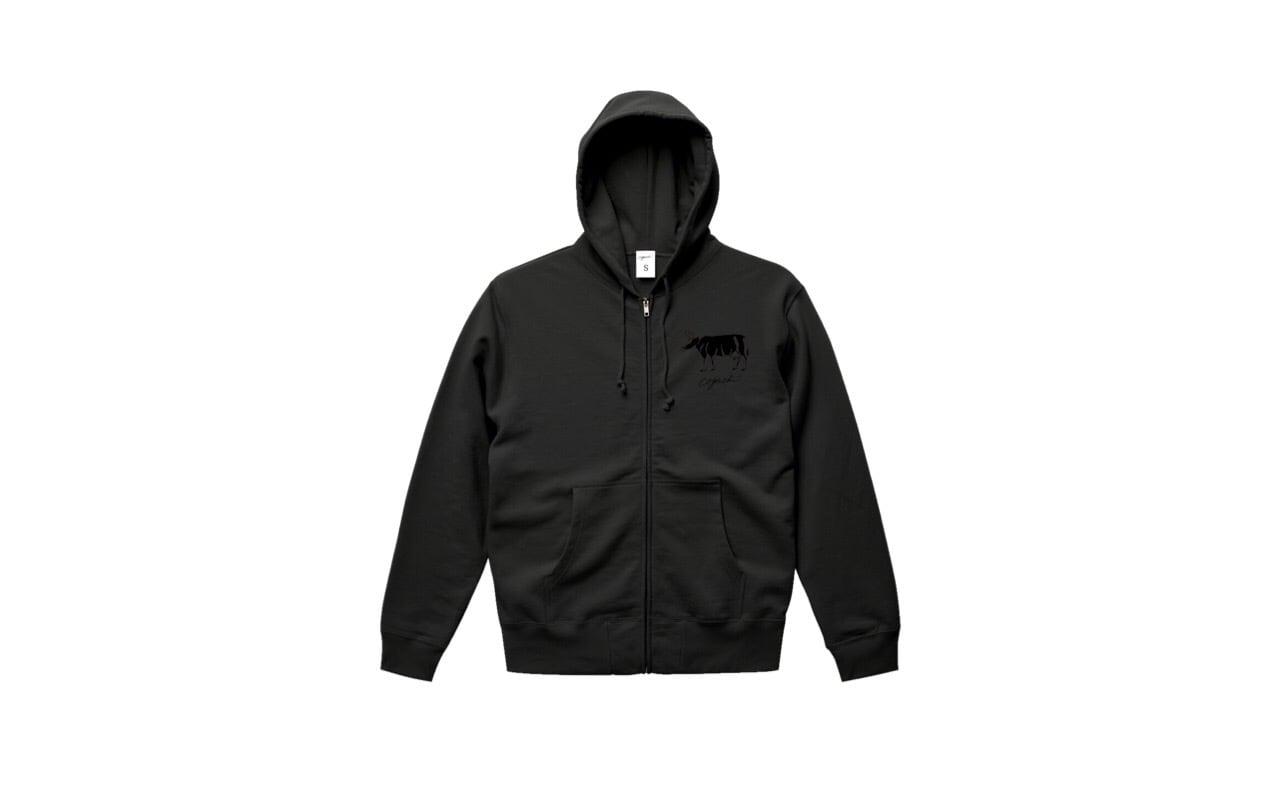 coguchi cow zip hoodie (bk/bk)