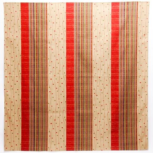 縞小紋 赤 木綿 3巾風呂敷(約100cm角)【日本製】