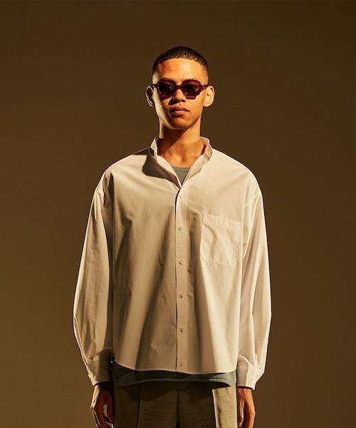 Military Sleeve Band Collar Shirt -white <LSD-BJ1S1>
