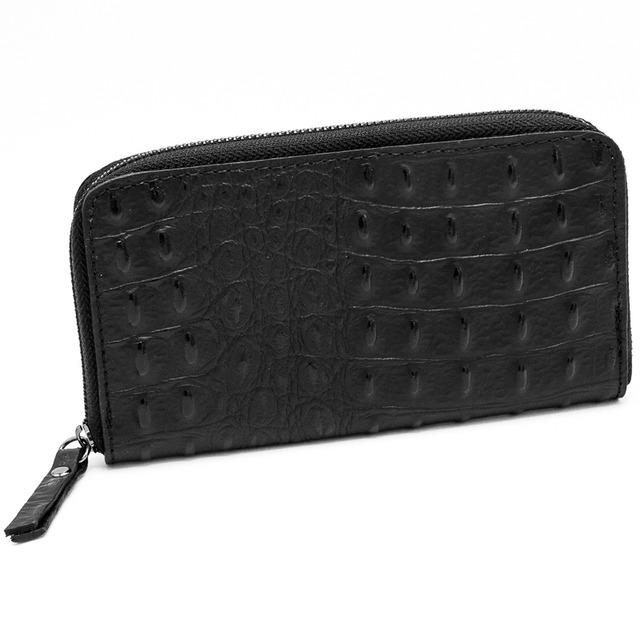 イタリア製 本革 長財布 財布 クロコダイル型押し ブラック