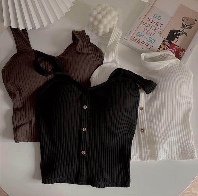 lib knit cup camisole 3color