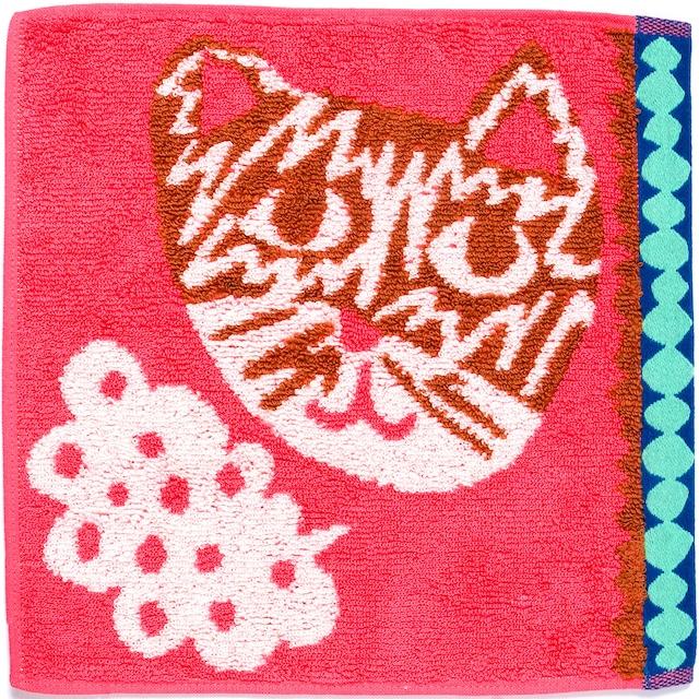 ひびのこづえ ミニタオル おしゃべり / ネコ ピンク 25x25cm 綿100% 日本製 KH16-05