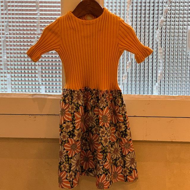 【送料無料】【KIDS】70's jersey and floral cotton dress - French -Size 4 years old-