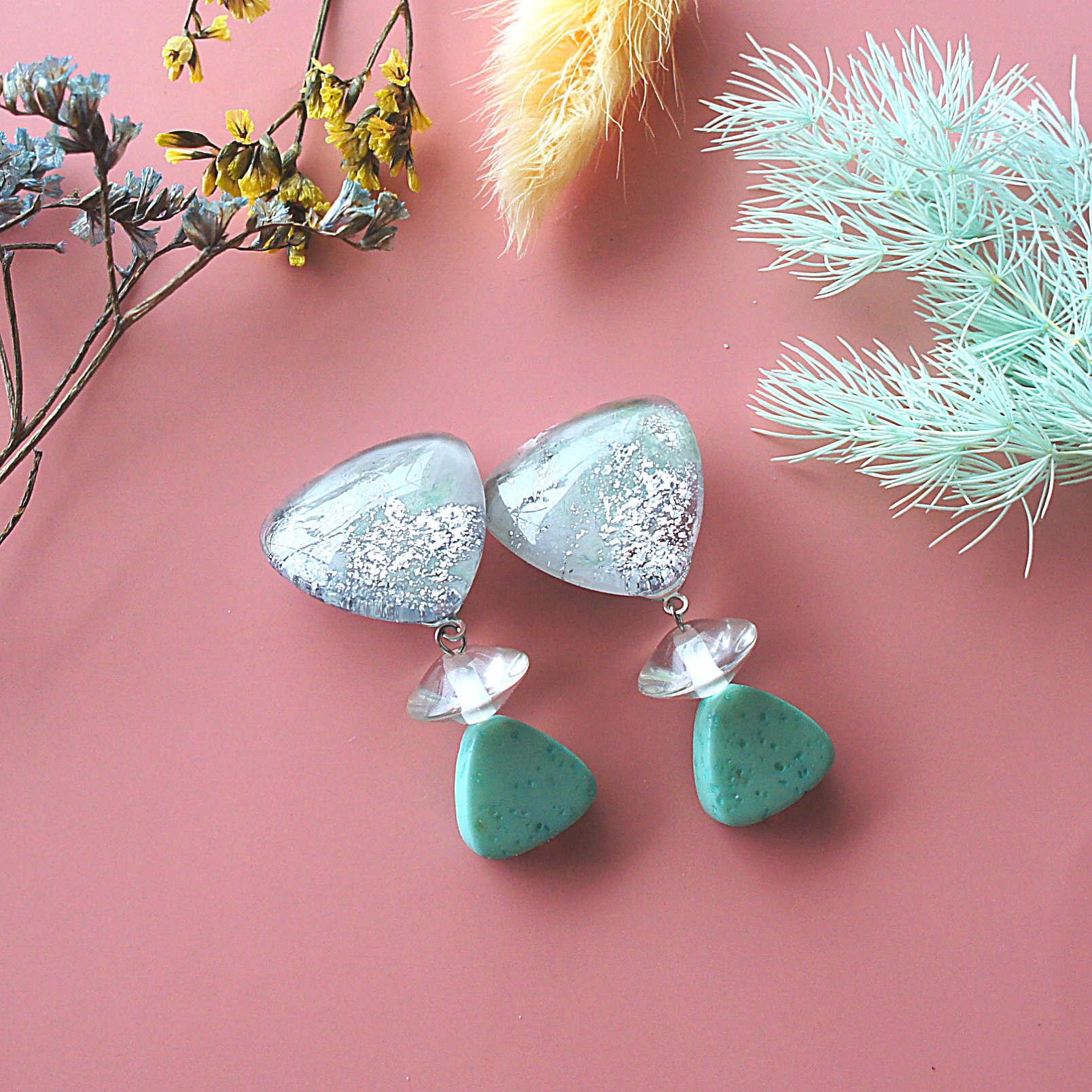 """"""" Earrings NO.0-1873″ ミントとヴィンテージビーズ"""