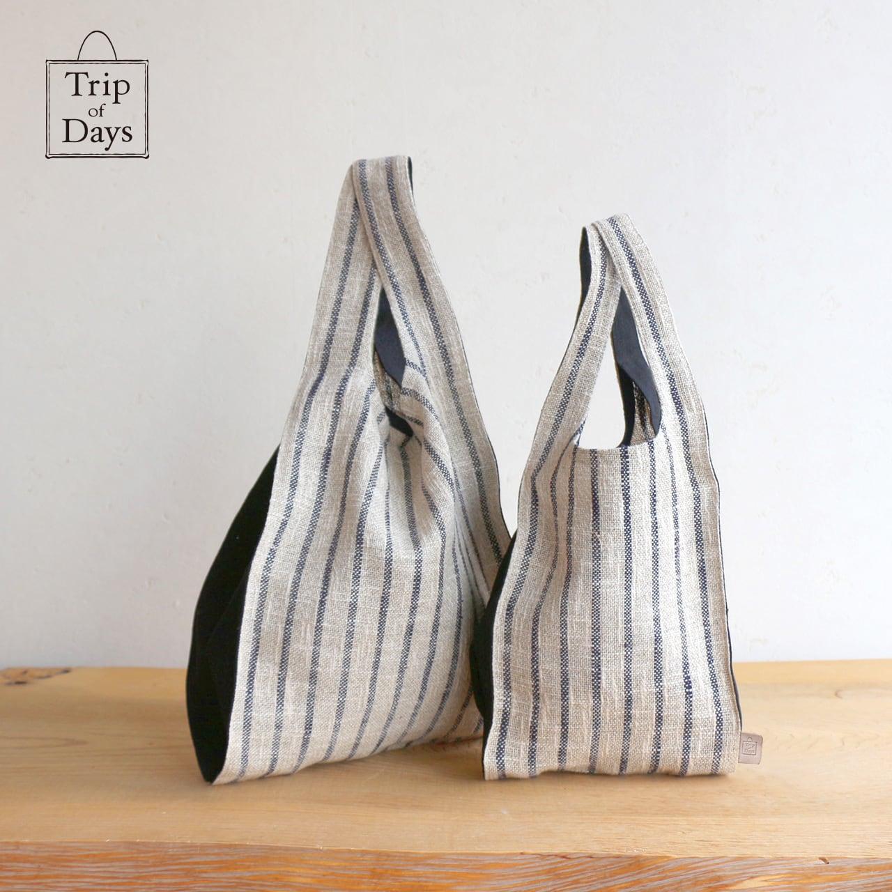 one mile bag   size L1   紺しま × 黒