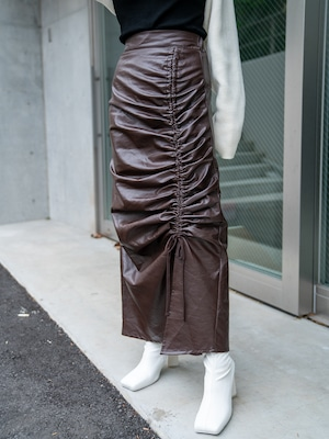 【WOMENS - 1 size】LEATHER GATHER SKIRT / 2colors
