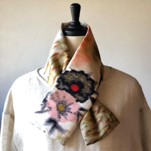 銘仙×リネン刺繍の小さな襟巻き2009/八月のうさぎ 着物 古布 リメイク ストール プチマフラー ネックウォーマー