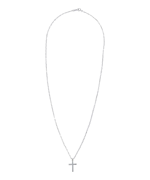 CROSS LONG CABLE CHAIN NECKLACE-SILVER[REA142]