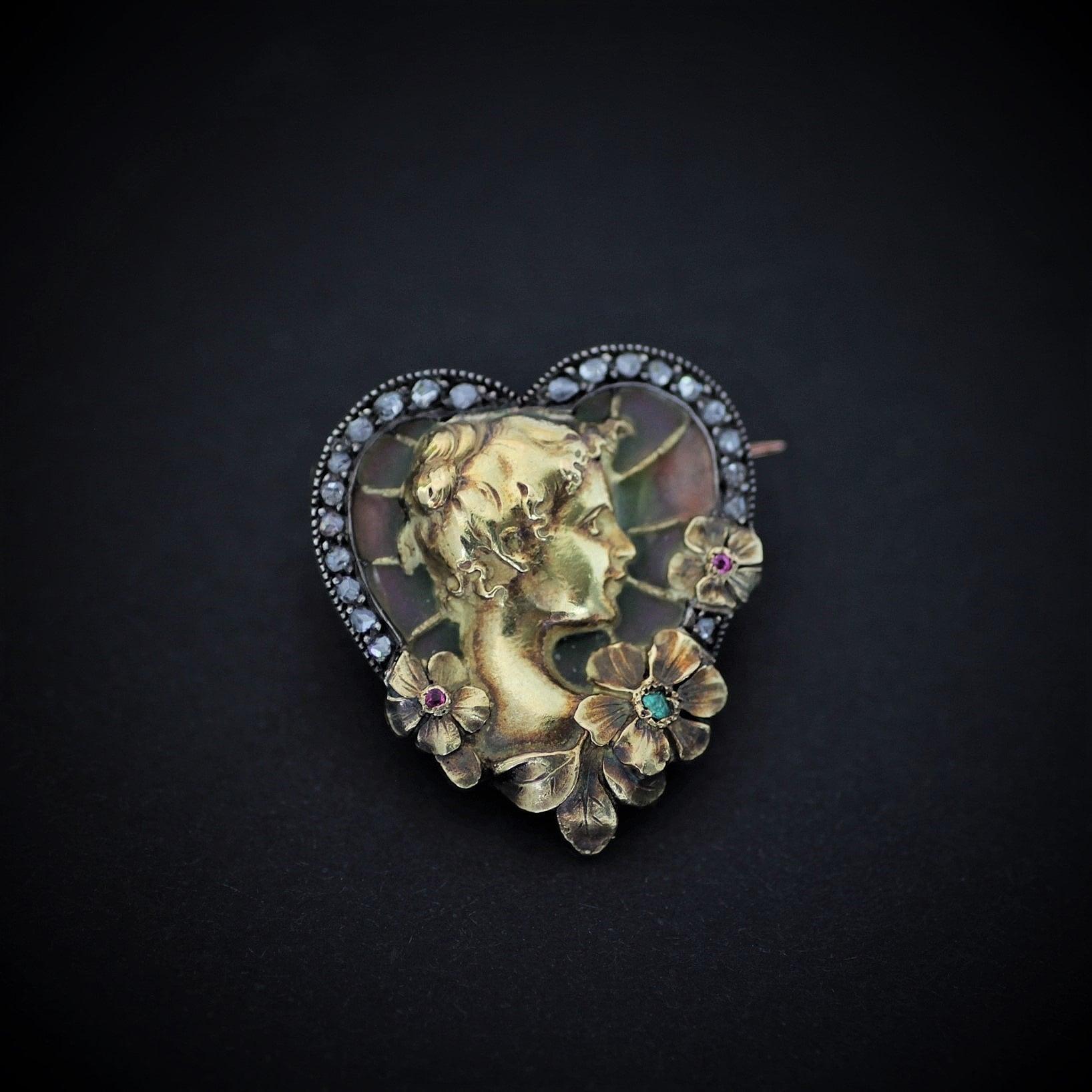 Art-Nouveau Plique a jour enamel brooch アール・ヌーヴォー プリカジュールエナメル ブローチ