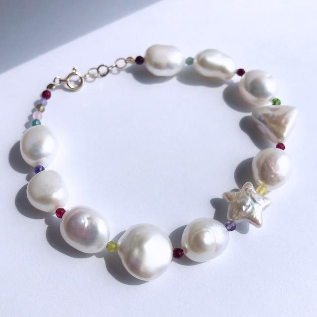 K10YG Multi Baroque Pearl x Multi Jade with a Star Pearl Bracelet / チャリティージュエリー