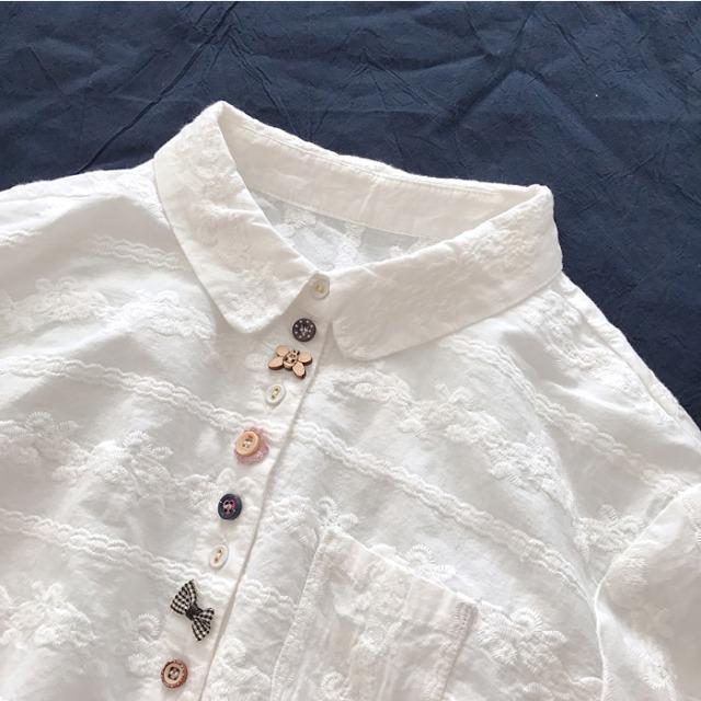 全面的刺繍ファブリックバックル純綿の白色 【200663】