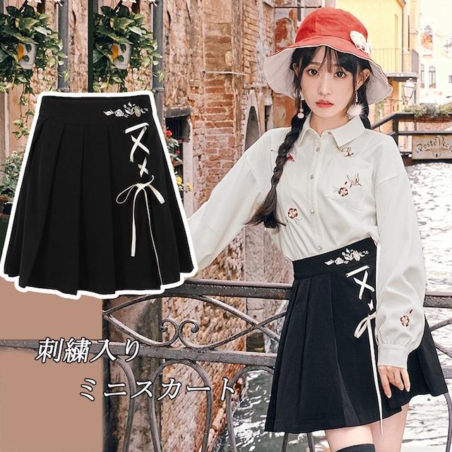 【十三余シリーズ】★チャイナ風スカート★ ミニスカート ボトムス 刺繍 ブラック 黒い 合わせやすい 可愛い