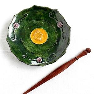 【30505】緑釉輪花小皿 明治(1個)/ Green Plate / Meiji Era
