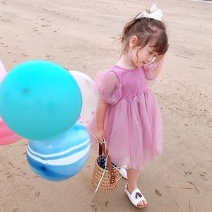 【KIDS】全3色チュールバルーンワンピース