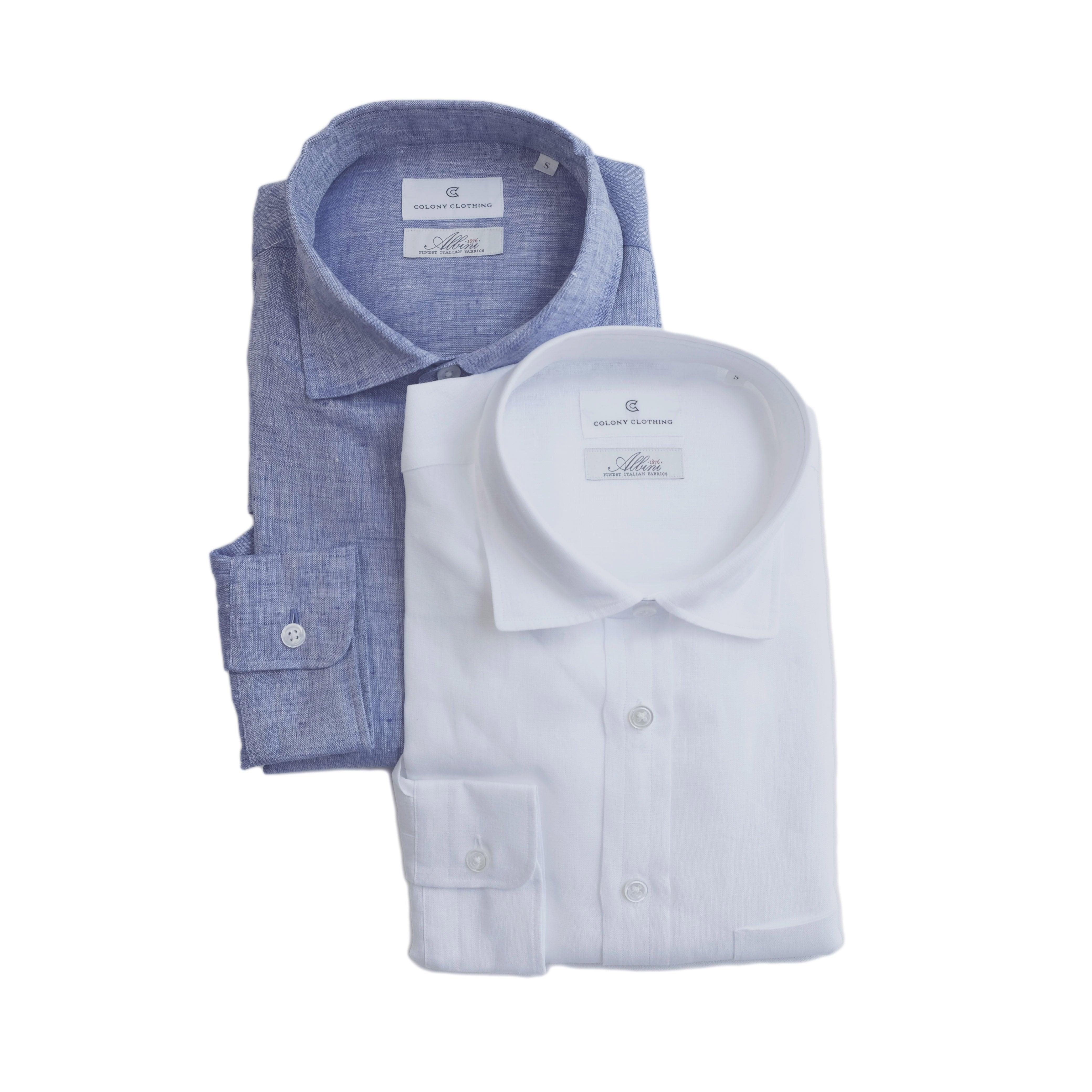 COLONY CLOTHING / ALBINI LINEN LOUNGE SHIRT / CC21-SH03(SALE)