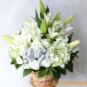 大輪の白ユリの洋風お供え生花アレンジメントご提案。