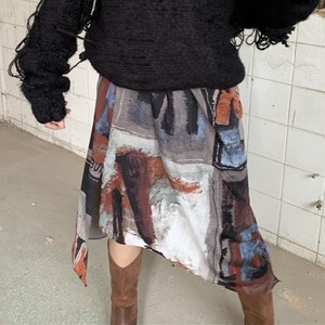 Art pattern asymmetry  skirt(アートパターンアシンメトリスカート)a-962