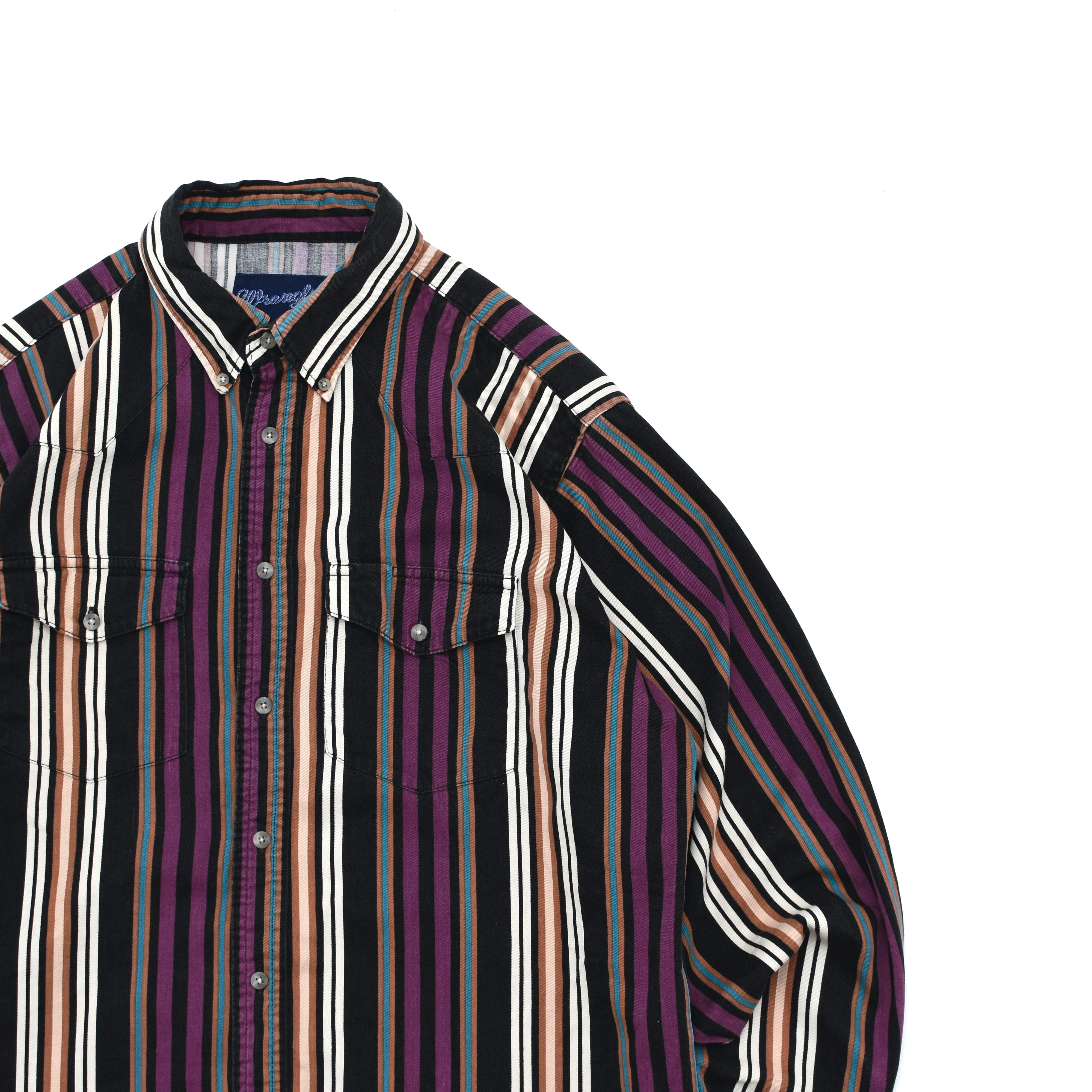 90's Boys size Wrangler stripe western shirt
