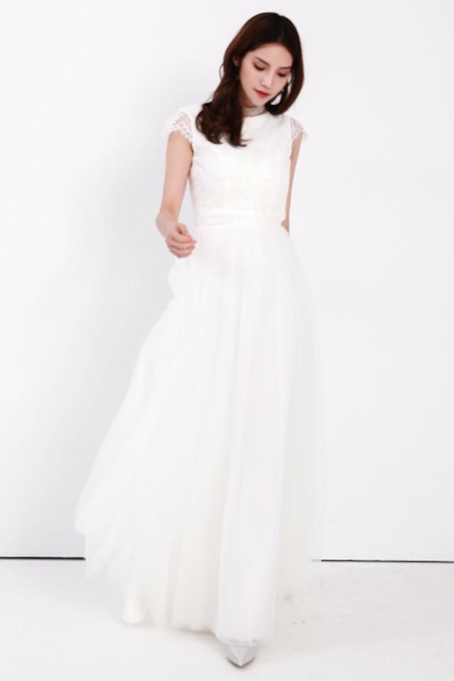 贅沢!くるみボタン 後ろ姿 が可愛い♪ セパレートドレス   (ウェディングドレス 2次会 結婚式)