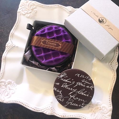 革の菫色ワッフルと手鏡セット:紙箱入り